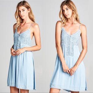 NEW! Crochet Floral Lace Button Down Dress Blue